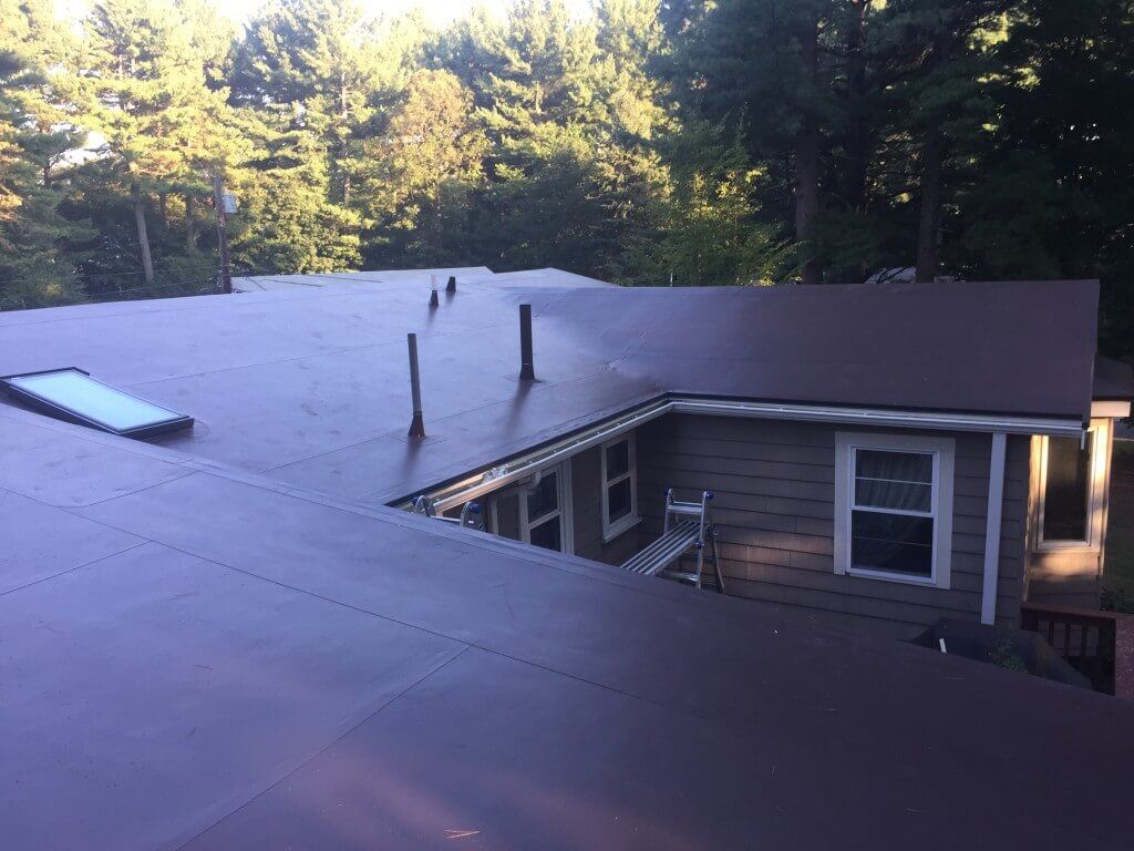 Pvc Membrane Installation On Low Pitch Roof In Wayland Ma