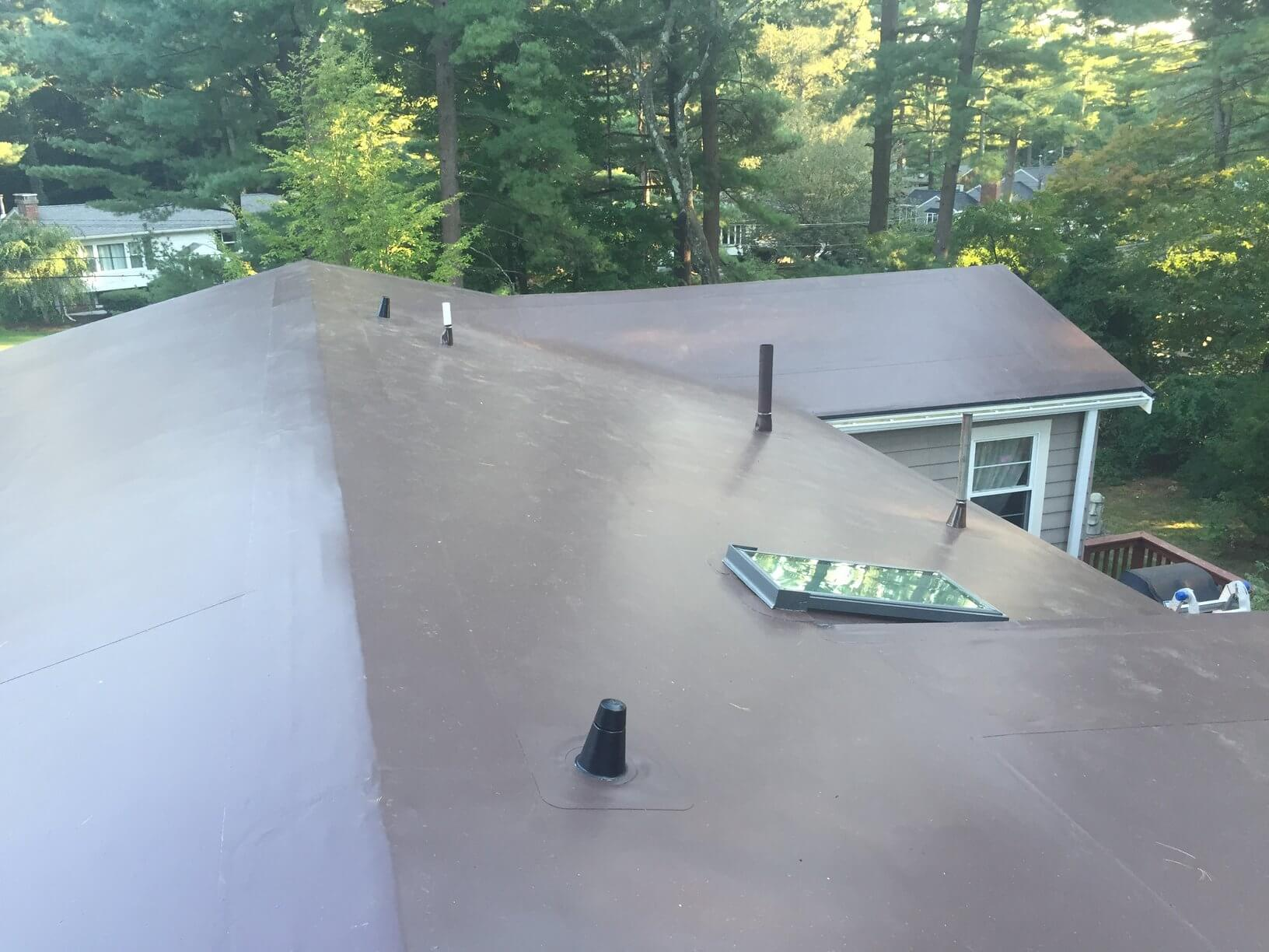 Pvc membrane installation on low pitch roof in wayland ma Low pitched roof