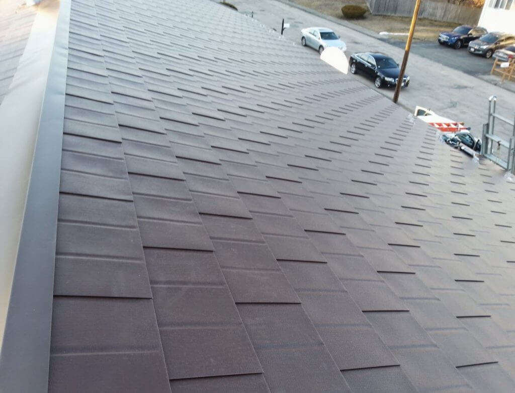 Aluminum shingles and PVC roof installation in Needham, MA