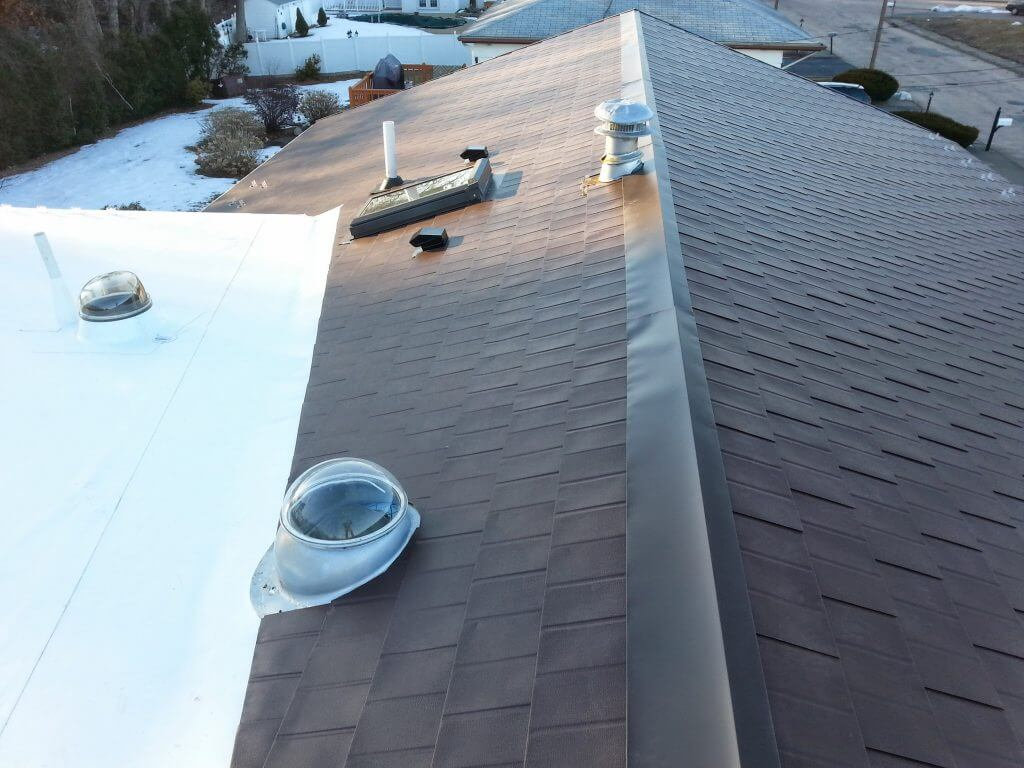 Aluminum Shingles Metal Roof and Rolled PVC Membrane Flat Roof Installation in Needham, MA